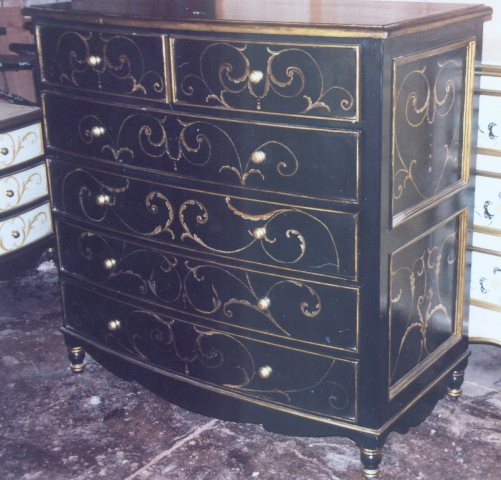 Tuscan bedroom furniture, black bow dresser with gold scrolls