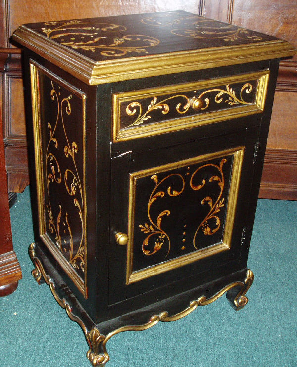 hand painted nightstand in black with scrolls