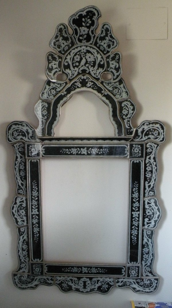 Isabellina reverse painted glass mirrors, large Peruvian Mirrors