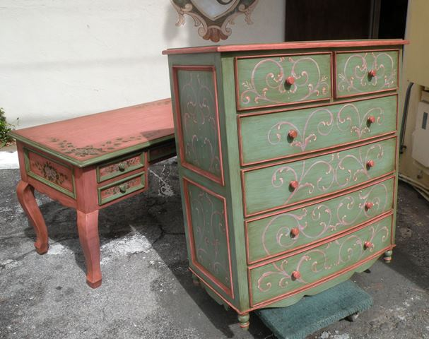 French Country Furniture, bow green dresser