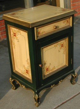 hand painted nightstand in olinda romani colonial design