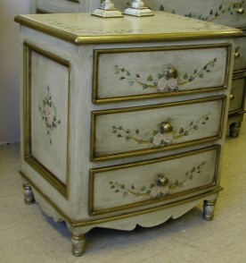 hand painted french style bow nightstand