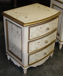 hand painted bow nightstand with scrolls