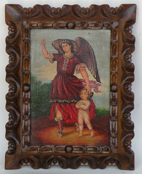 Guardian Angel made in Peru hand painted