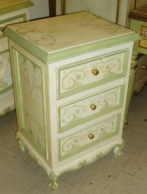 hand painted nightstand with french scrolls