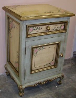 hand painted nightstand with roses