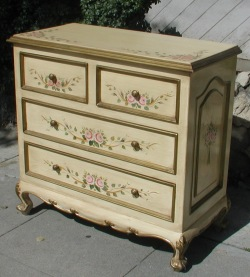 French Country Furniture, pink rose ribbon chest