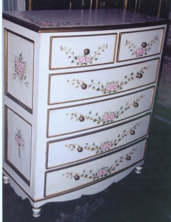 antique white pink rose chest