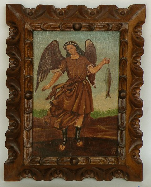 Archangel Raphael made in Peru hand painted