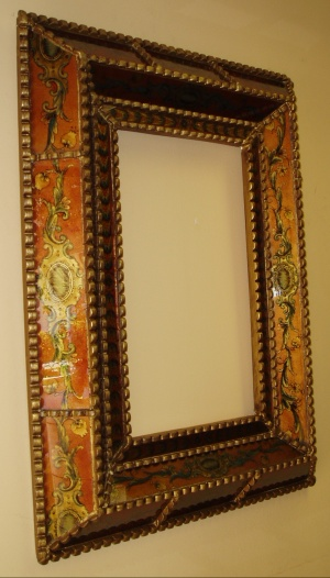 reverse painted glass mirrors, made in Peru