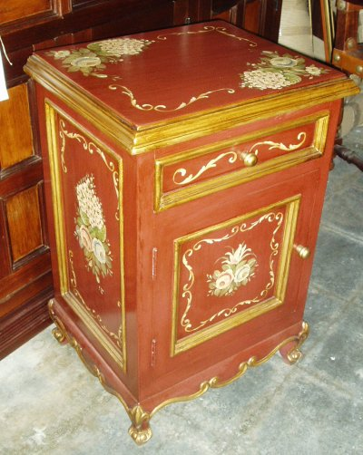 hand painted nightstand with red floral