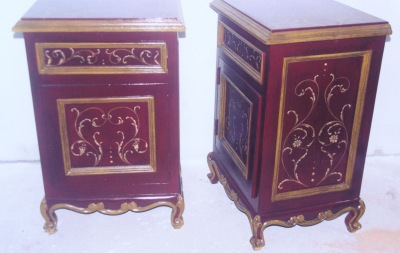 spanish red nightstand with scrolls