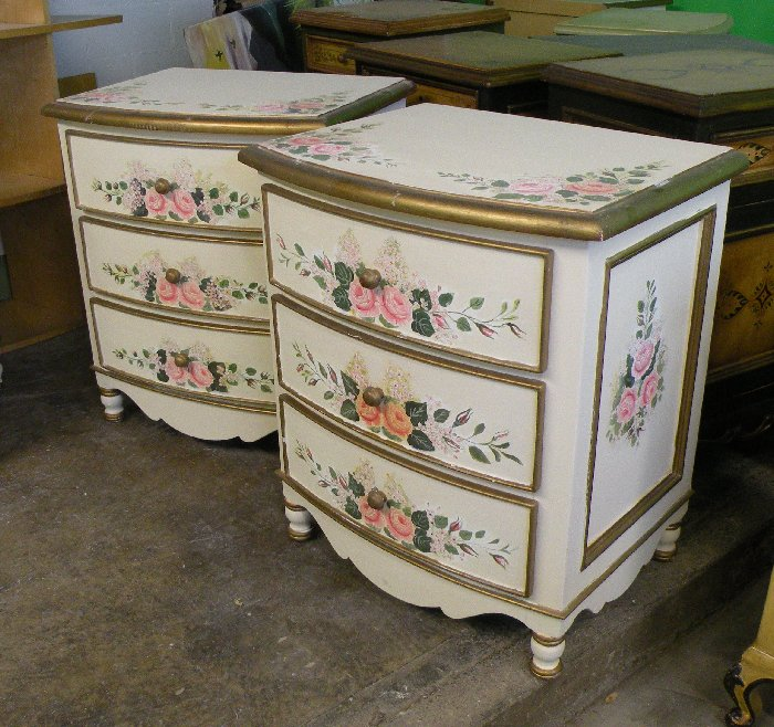 hand painted bow nightstand with mixed floral design