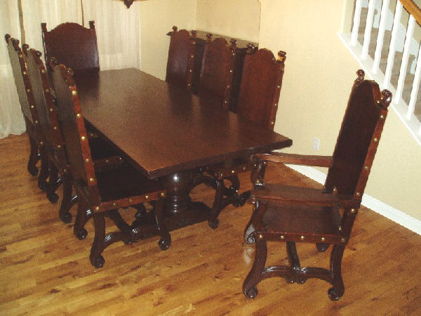 Spanish Colonial Dining Room Set, Balustrade table