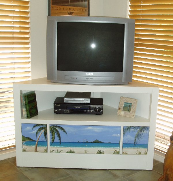 hand painted media cabinet
