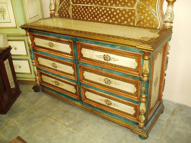 Old Spanish style furniture, hand painted dresser in sevilla design
